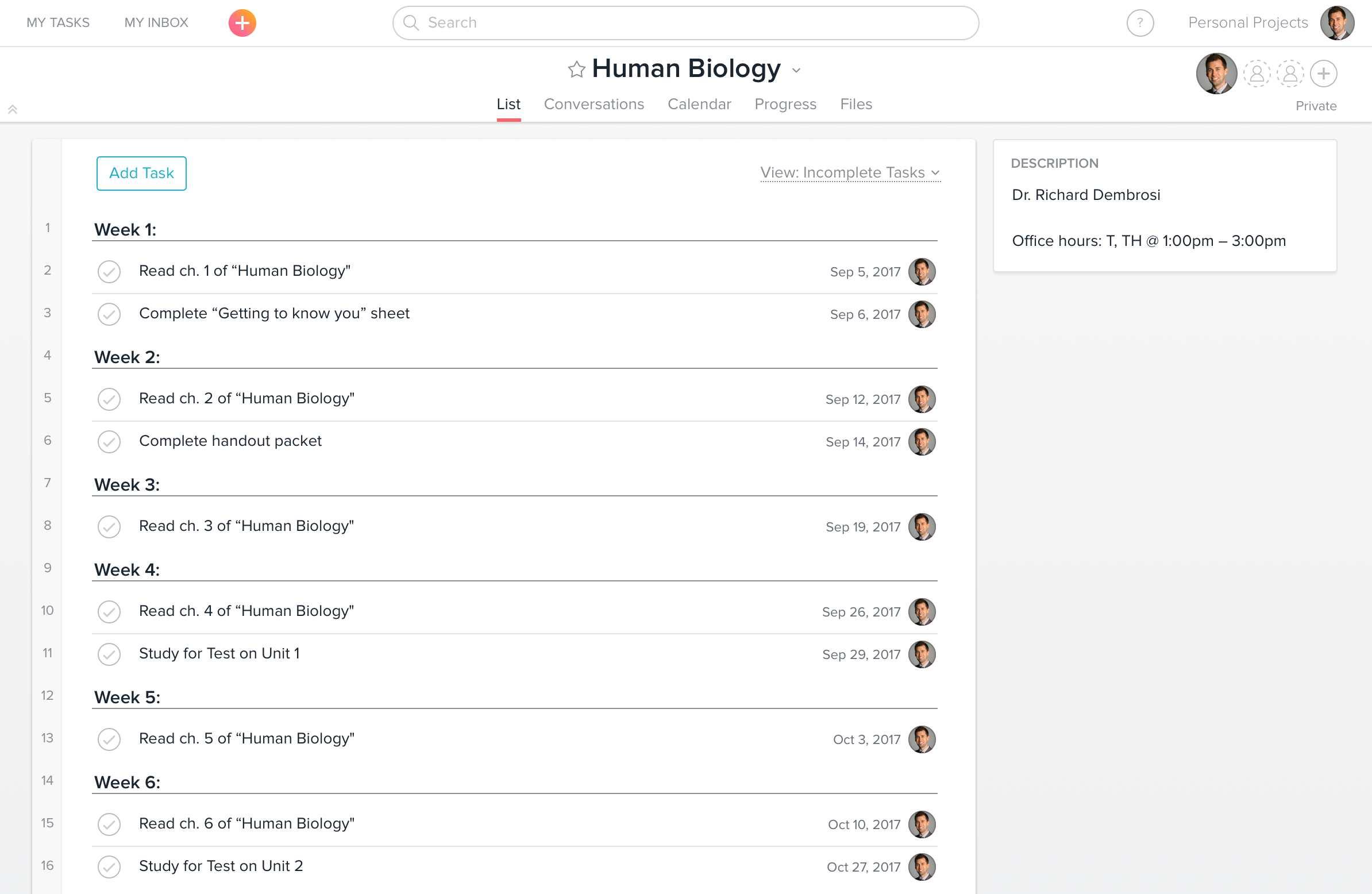 Human Biology Project in Asana