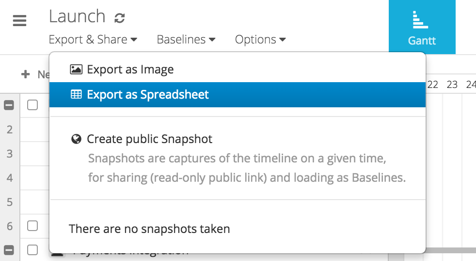 Instagantt export as spreadsheet