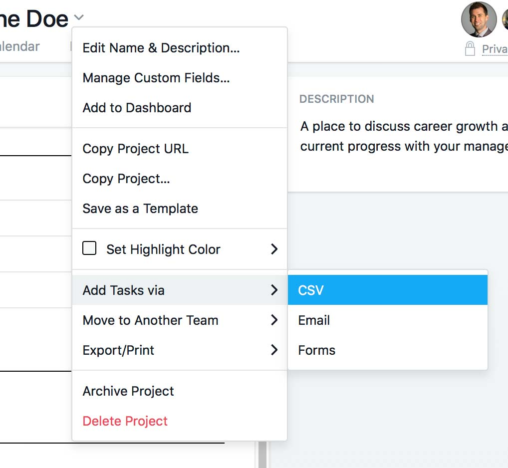 Asana project dropdown