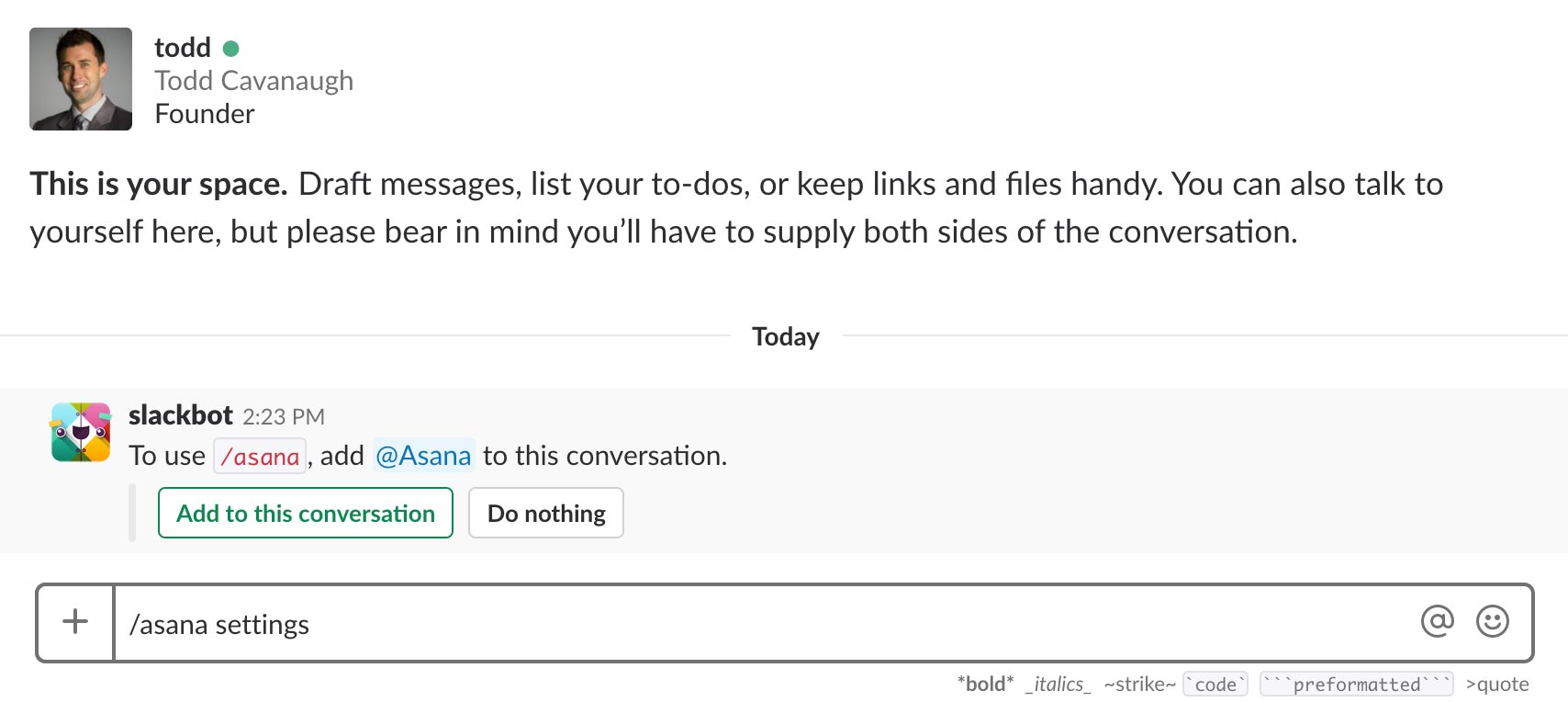 Add Asana to Slack Channel