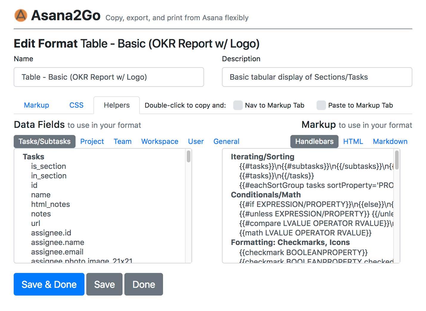 Asana2Go Interface